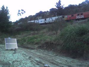 View of the North Island Main Trunk railway and monitoring equipment.