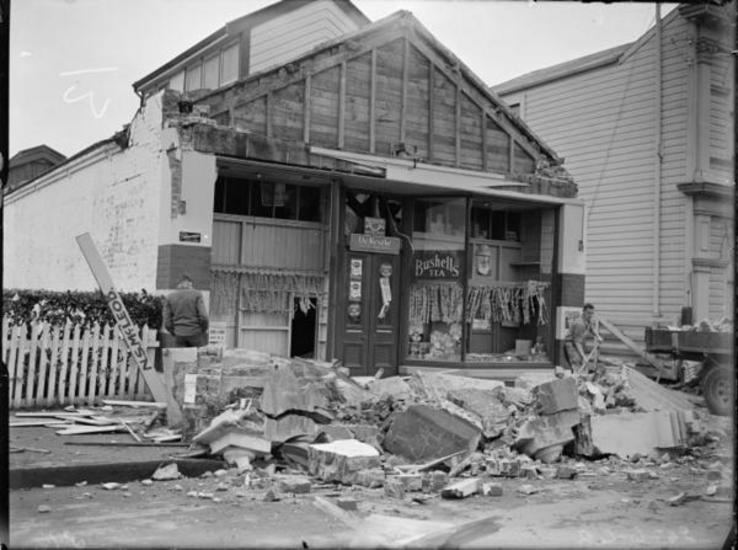Masterton shop front, damaged by 1942 earthquake. 25 Jun 1942. [Ref #: 1/2-123914-G Part of: Evening Post: Photographic negatives and prints of the Evening Post newspaper (PAColl-0614) and Negatives of the Evening Post newspaper (PAColl-0614-1)]