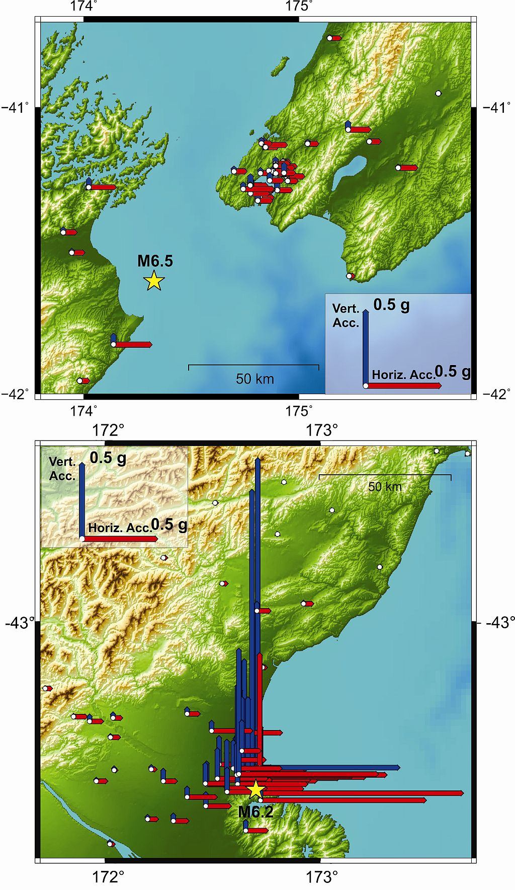 Two maps comparing accelerations measured for the Cook Strait (upper) and Christchurch (lower) earthquakes.