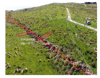 One of Tim and Russ's trenches (pink rectangles) was cut in half by movement on the Kekerengu Fault (red line. The two sides of the trench are now about nine metres apart. Drone photo by Julian Thomson