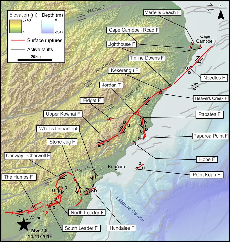 A detailed map of active faults in the northeast South Island, from Stirling et al. (2017) that shows the locations of faults that ruptured to the ground surface.