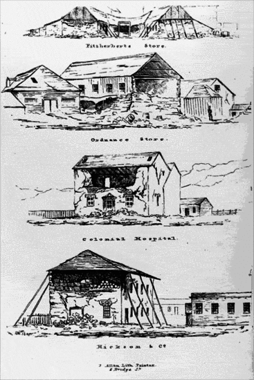 Sketches showing the damage to buildings sustained in the 1848 Wellington earthquake. [Park, Robert 1812-1870. Ref #: PUBL-0050-01 Part of: An account of the earthquakes in New Zealand]