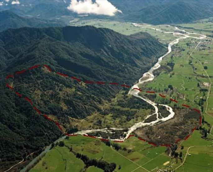 The earthquake triggered over 10,000 landslides. One of them, just 5 km from Murchison, occurred in the Matakitaki Valley and contained 18 million cubic metres of sediment. It is still visible in the landscape today. [GNS Science]