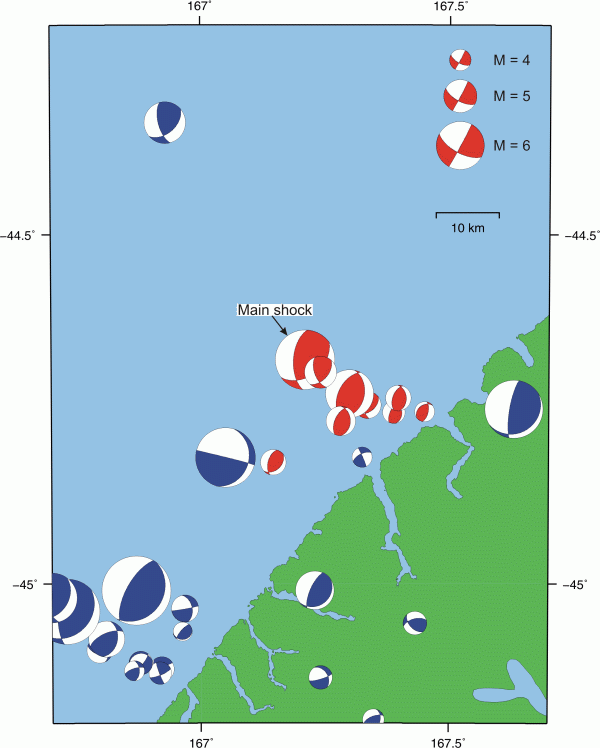 Map showing mechanisms for Fiordland earthquakes.