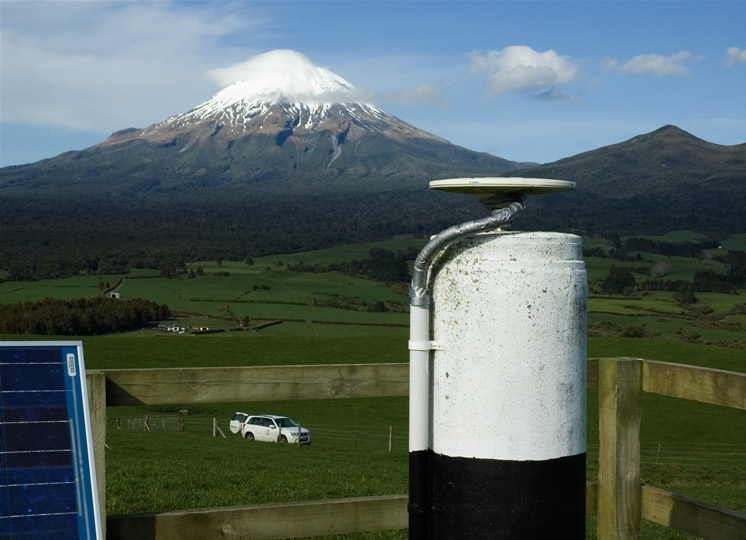 A GPS pillar situated at the base of Egmont Volcano.