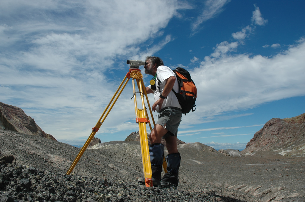 Surveying using a geodetic level.