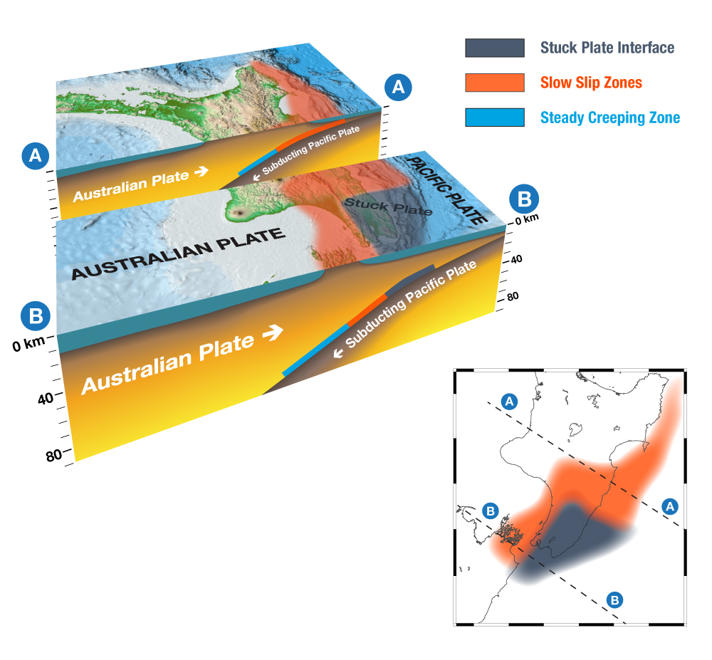 Cross-section of the slow-slip zones at the boundary between the Australian and Pacific Plates. Slow slips in the south (Kapiti and Manawatu) happen deeper than those in the north (Hawke's Bay and Gisborne.