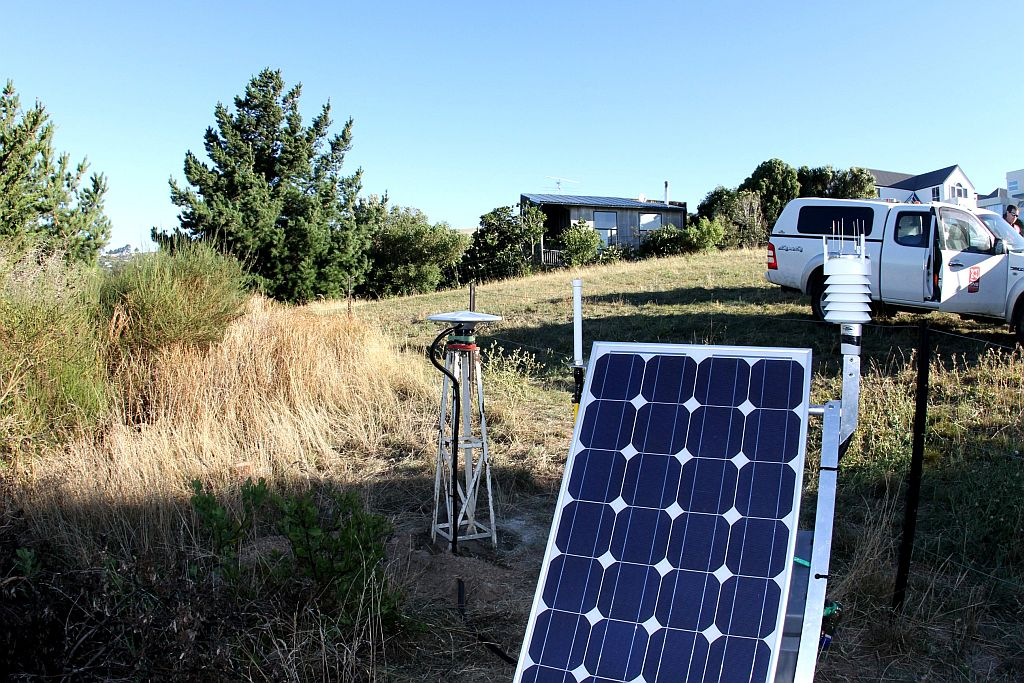A cGPS installation together with the weather station set-up at Sumner.