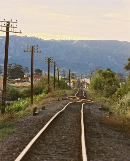These railway lines, originally straight, were left buckled after the earthquake, distorted by the intense ground motion. [GNS Science]