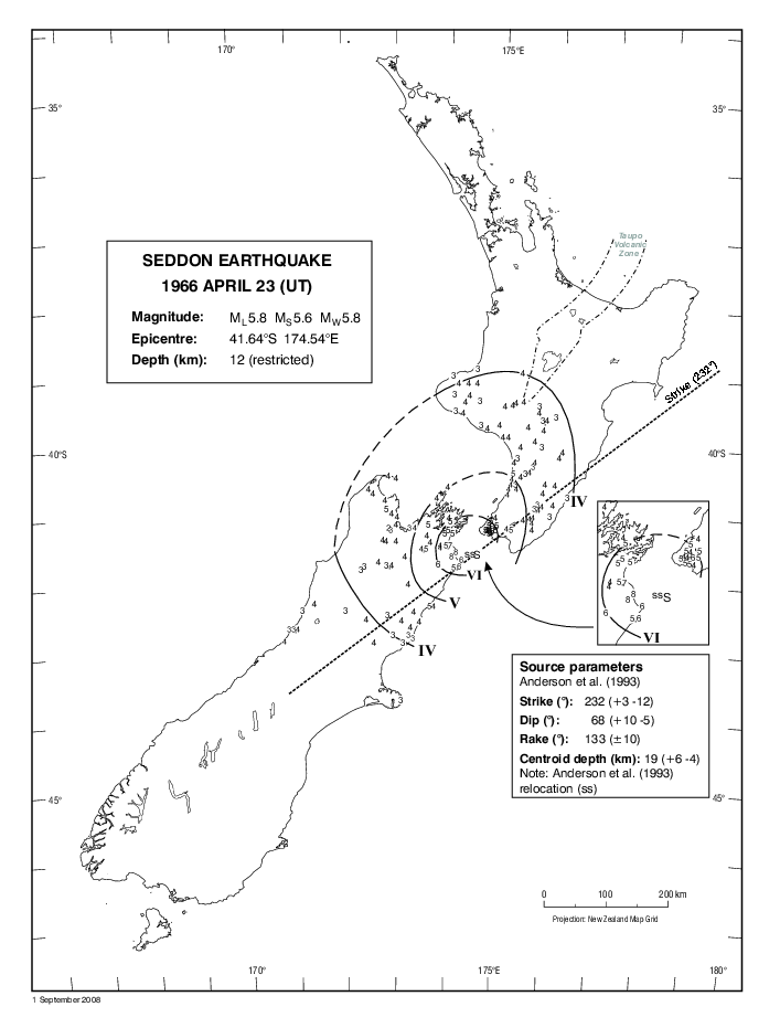 Isoseismal map of the Seddon earthquake. Courtesy Atlas of isoseismal maps of New Zealand earthquakes (2nd edition): Downes, G.L.; Dowrick, D.J.
