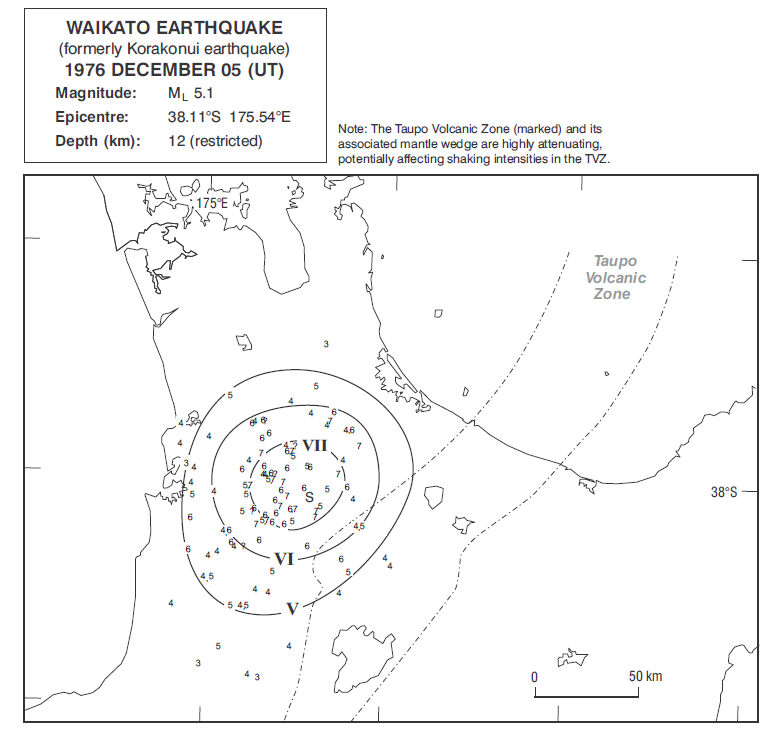 Isoseismal map of the Waikato earthquake. Courtesy Atlas of isoseismal maps of New Zealand earthquakes (2nd edition): Downes, G.L.; Dowrick, D.J.