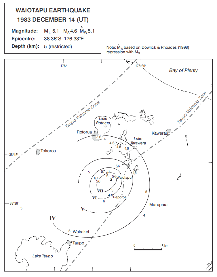Isoseismal map of the Waiotapu earthquake. Courtesy Atlas of isoseismal maps of New Zealand earthquakes (2nd edition): Downes, G.L.; Dowrick, D.J.