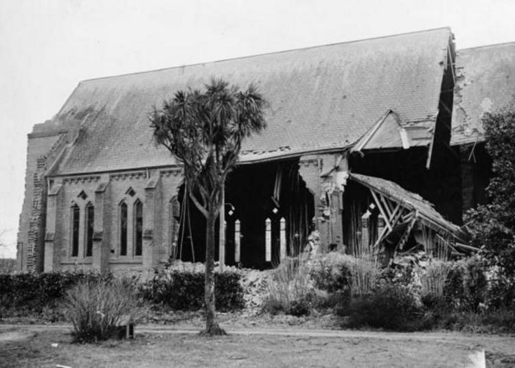 St. Matthew's Church, Masterton, after the earthquake. [Ref #: PAColl-6301-65 Part of: Evening Post: Photographic negatives and prints of the Evening Post newspaper (PAColl0614) Part of: Evening Post photos from file print collection, Box 3 (PAC6301)]