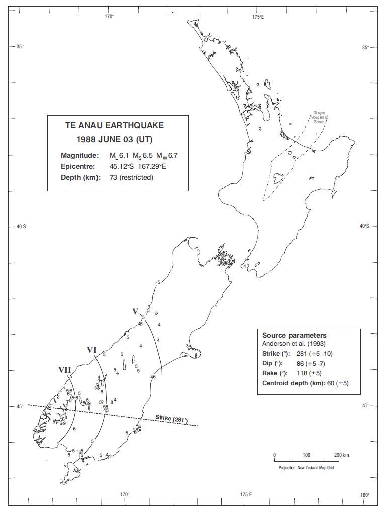 Isoseismal map of the Te Anau earthquake. Courtesy Atlas of isoseismal maps of New Zealand earthquakes (2nd edition): Downes, G.L.; Dowrick, D.J.