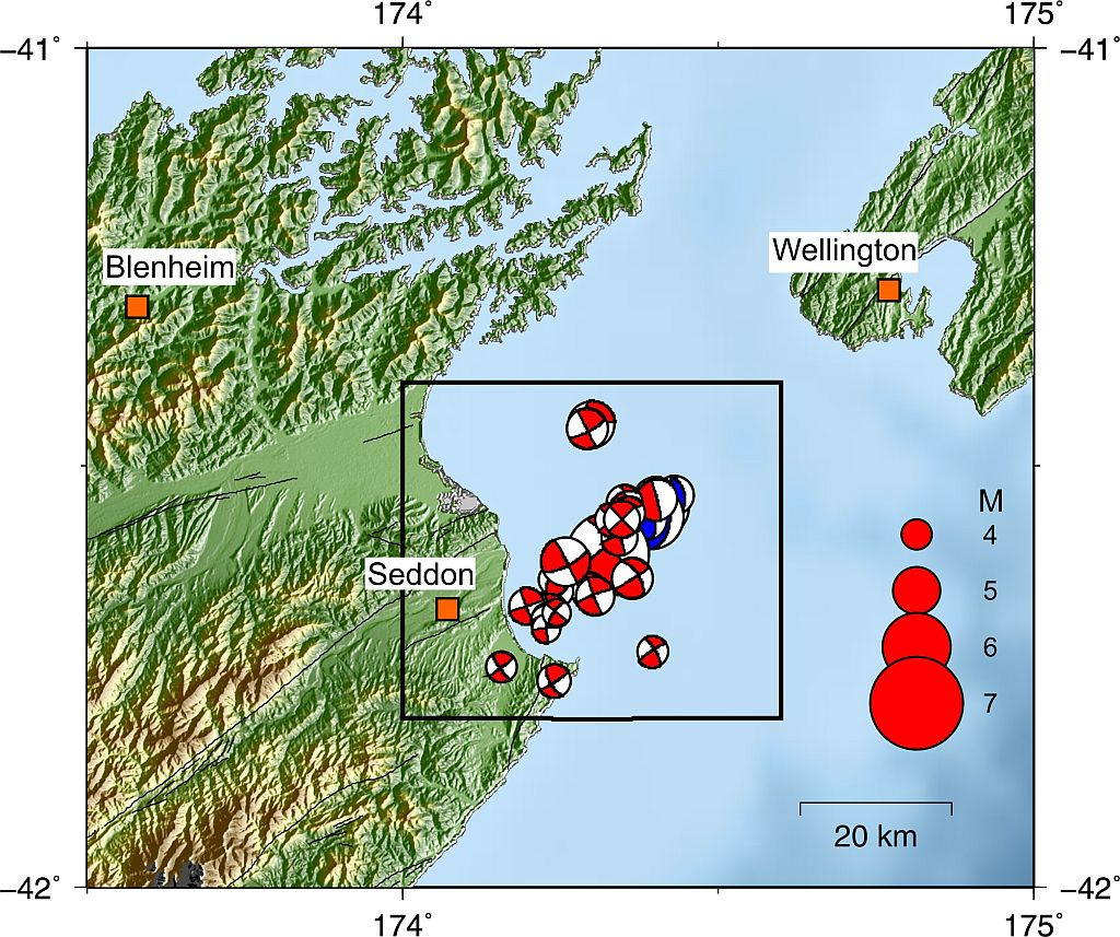 Focal mechanisms for the largest earthquakes in the Cook Strait sequence.