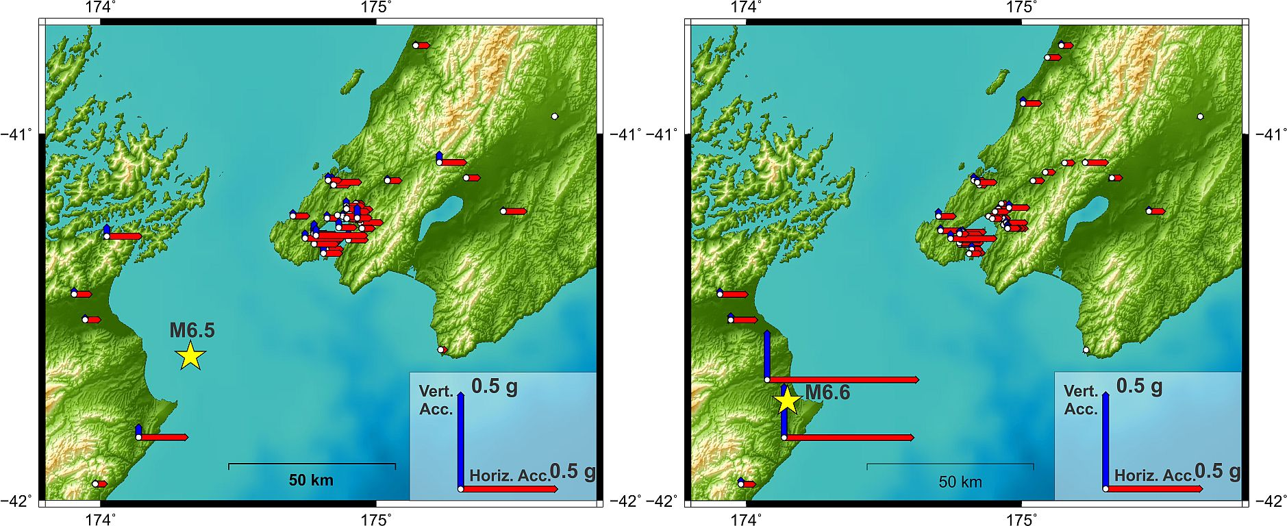 A comparison of ground shaking between the Cook Strait and Lake Grassmere earthquakes. Much higher levels evident in Marlborough due to proximity to the epicentre.