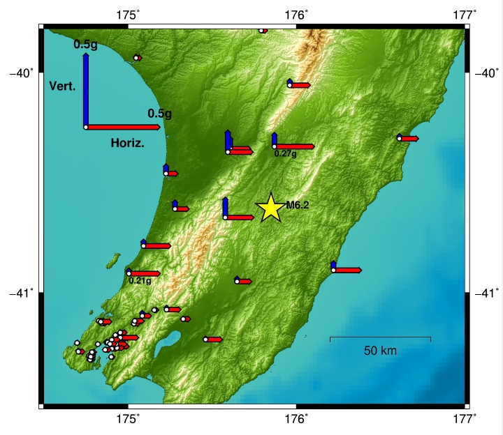 Map showing accelerations measured for the Eketahuna earthquake