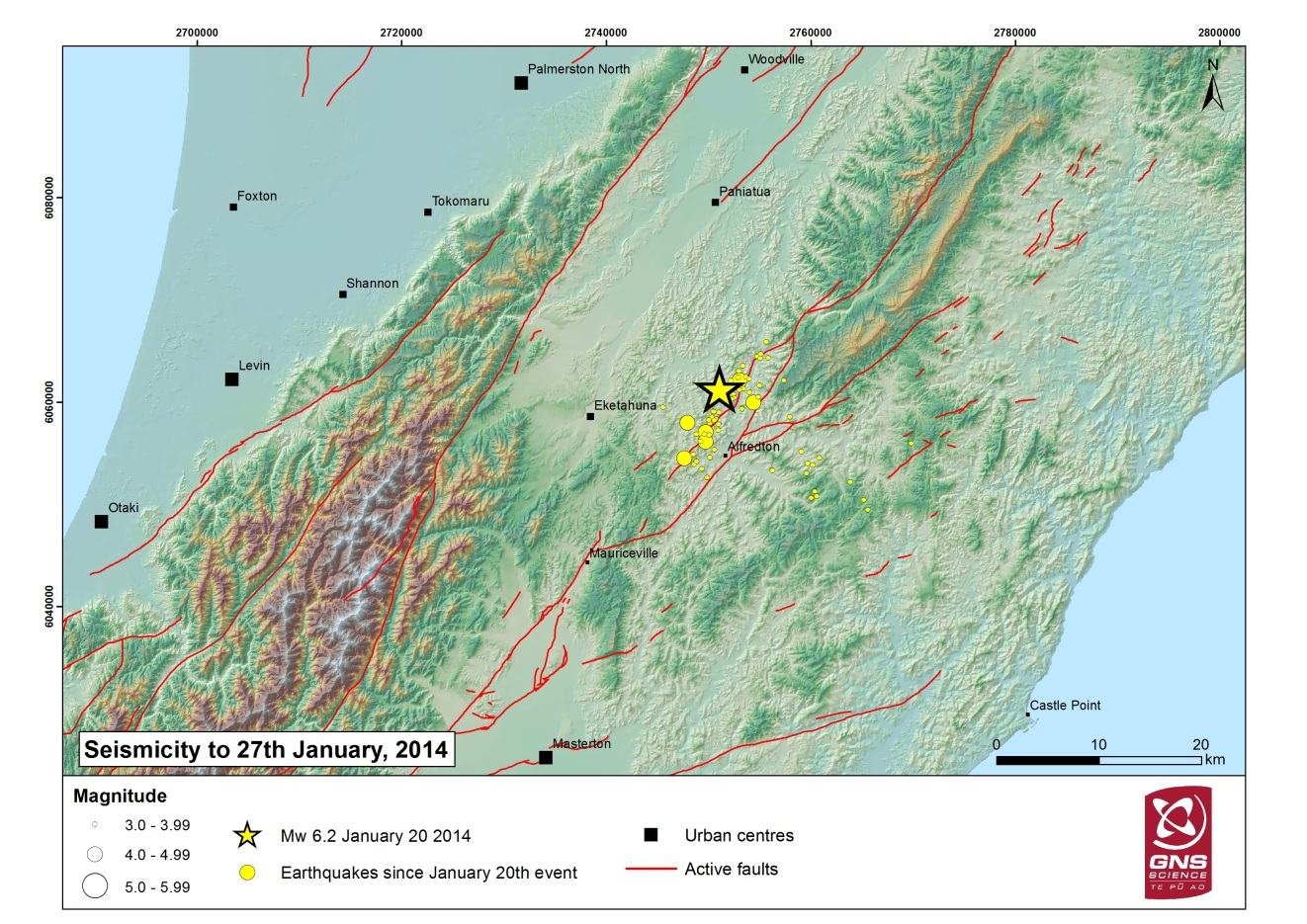 Aftershocks following the Eketahuna earthquake up to 27/01/2014