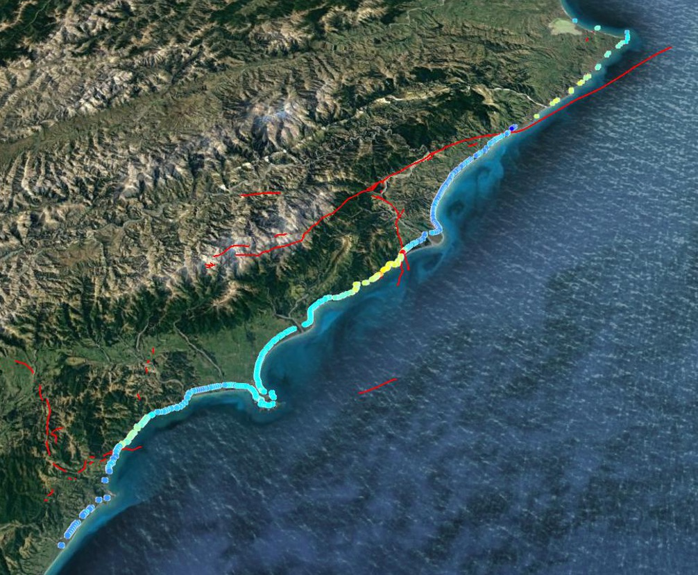 Google Earth image showing the length of the South Island Coastline impacted by the Kaikoura earthquake and subsequent uplift Redlines show the faults. June 2017.