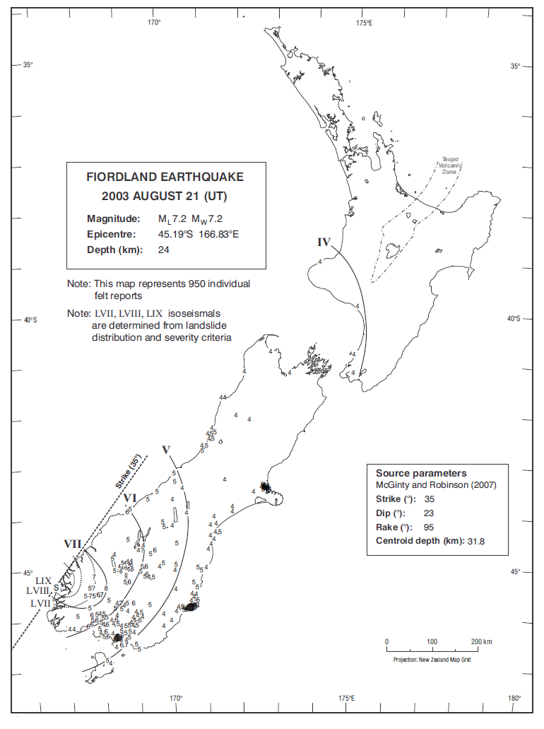 Isoseismal map of the Fiordland earthquake. Courtesy Atlas of isoseismal maps of New Zealand earthquakes (2nd edition): Downes, G.L.; Dowrick, D.J.