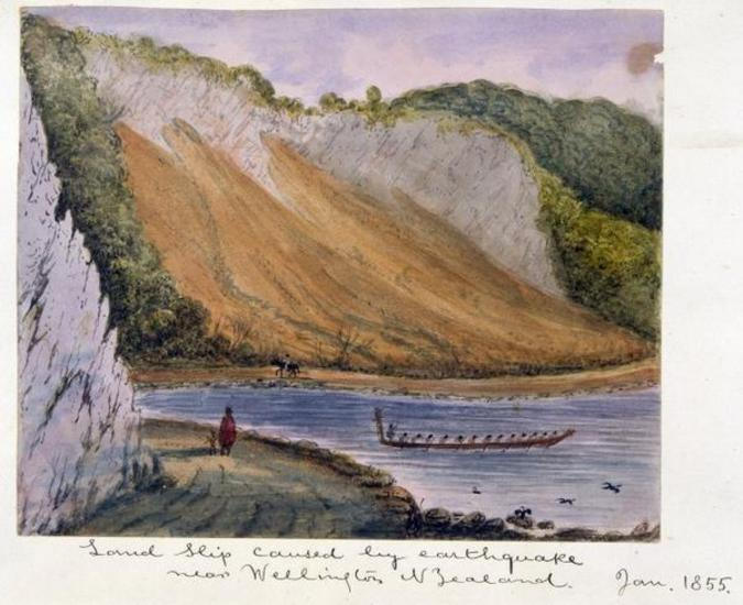 Landslip caused by earthquake near Wellington, New Zealand. January 1855. [Gold, Charles Emilius 1809-1871. Ref #: B-103-016]
