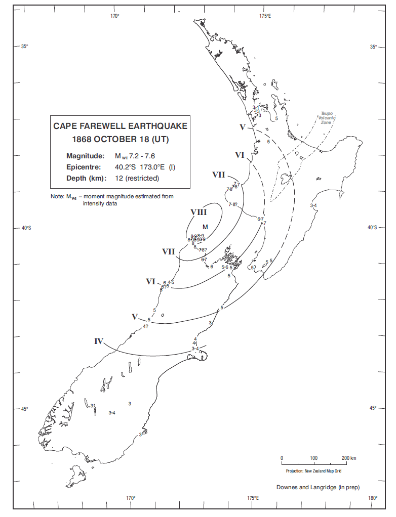 Isoseismal map of the Cape Farewell earthquake. Courtesy Atlas of isoseismal maps of New Zealand earthquakes (2nd edition): Downes, G.L.; Dowrick, D.J.