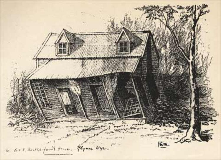 The Glynn Wye house above Kakapo Creek. The lower story has been warped, and its collapsed chimney is visible to the right of the cottage. [Weekly Press Illustrated Supplement, 14 September 1888]