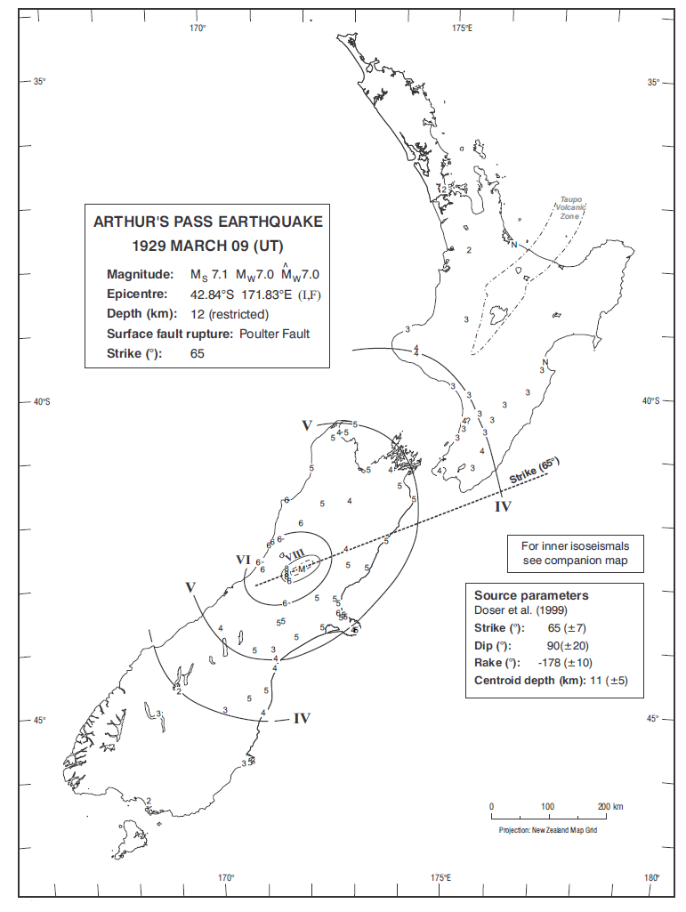 Isoseismal map of the Arthur's Pass earthquake. Courtesy Atlas of isoseismal maps of New Zealand earthquakes (2nd edition): Downes, G.L.; Dowrick, D.J.