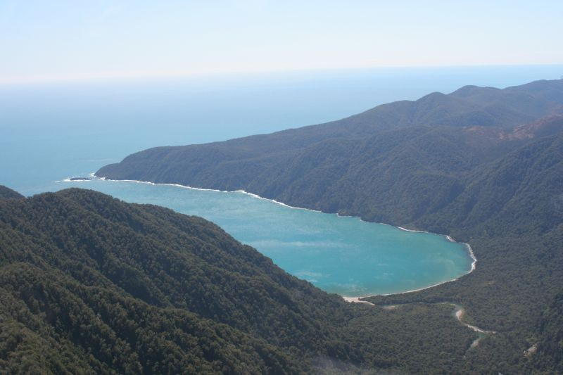 Poison Bay, Fiordland. A temporary instrument was deployed southof here at Rugged Mountain.