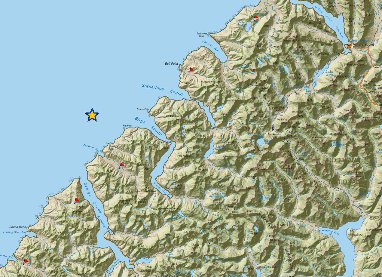 Map showing portable seismograph installation sites.