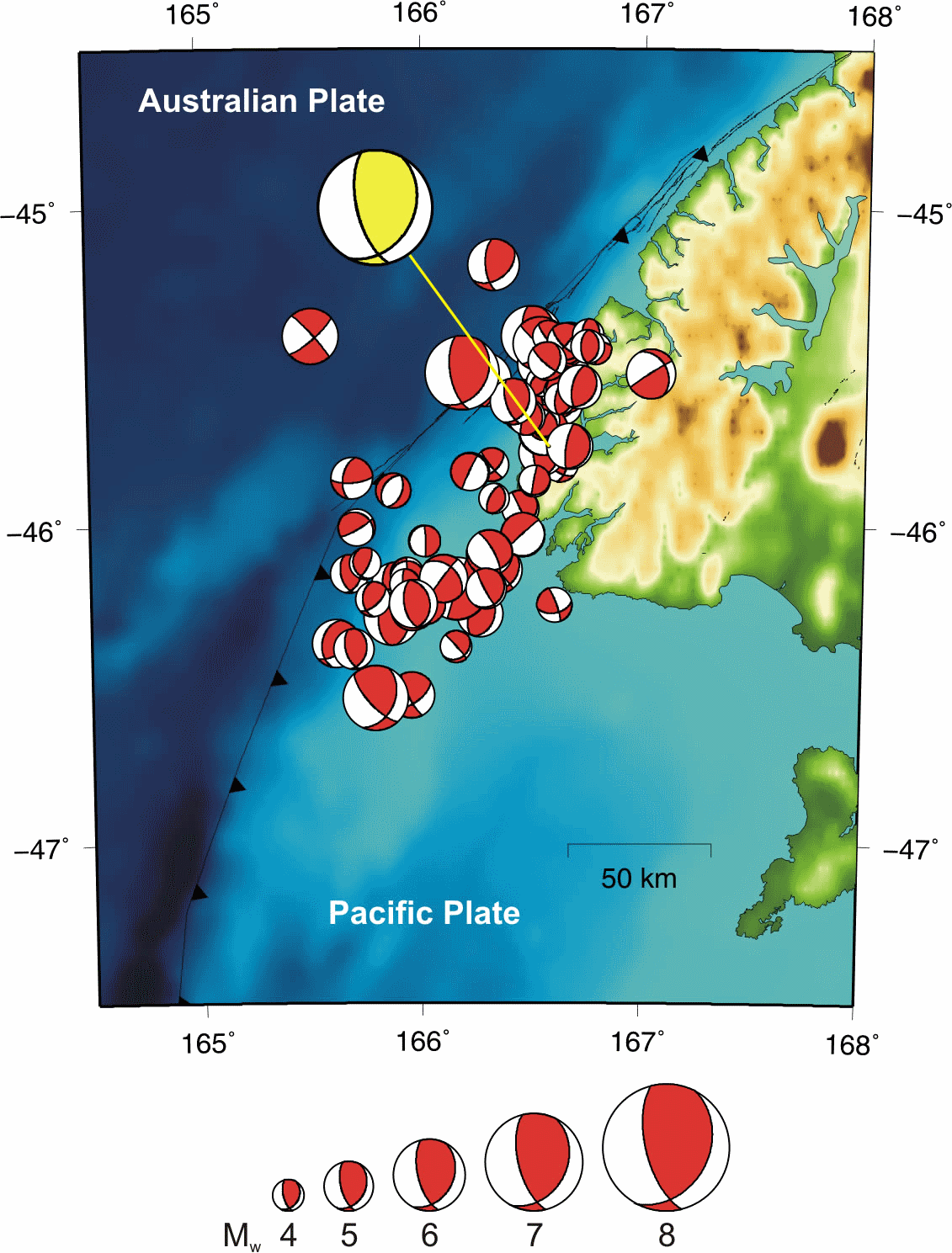 Focal mechanisms for the earthquakes in Fiordland (the mainshock is shown in yellow and offset from its true location).