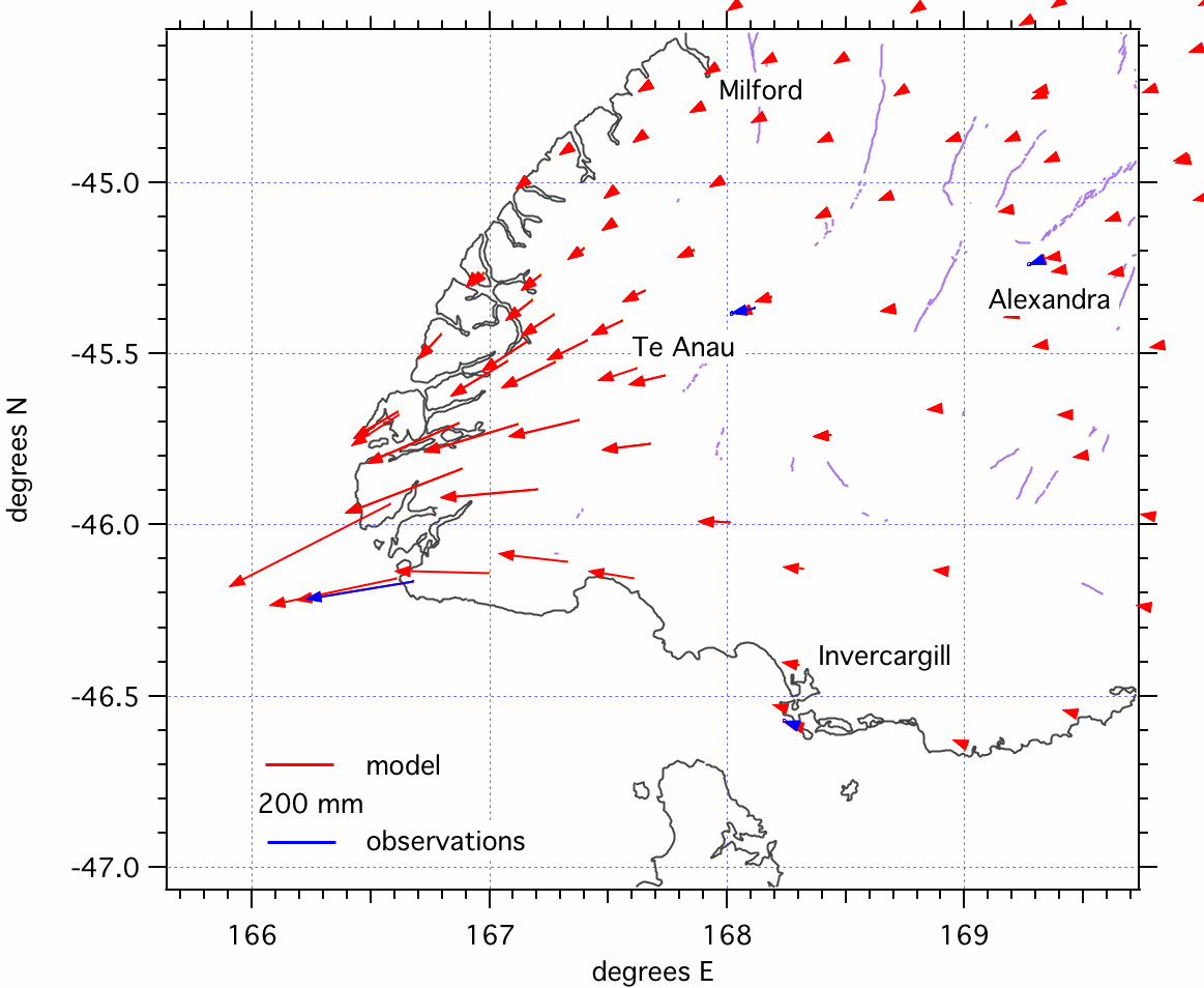 Horizontal motions caused by the Dusky Sound earthquake.