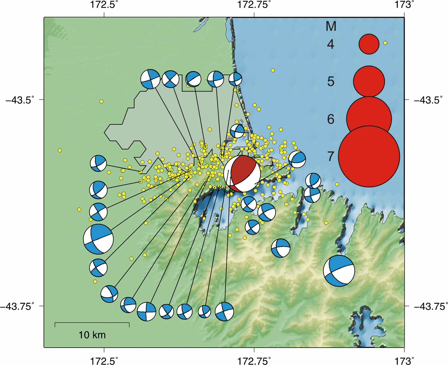 Focal mechanisms for the M6.3 quake (red) and the larger aftershocks (blue) after the first 10 days of the sequence; yellow dots are locations of the other aftershocks. Note that focal mechanisms are offset from the true location for better visibility.