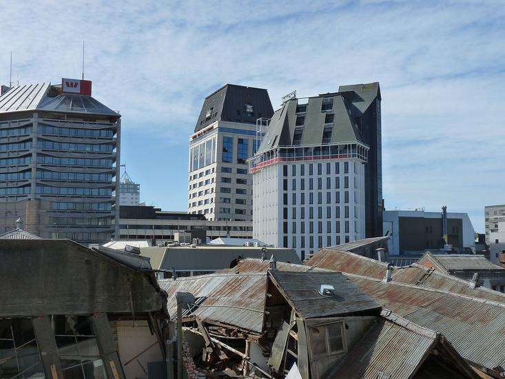 Damage to buildings in the central city, Christchurch. [GNS Science]