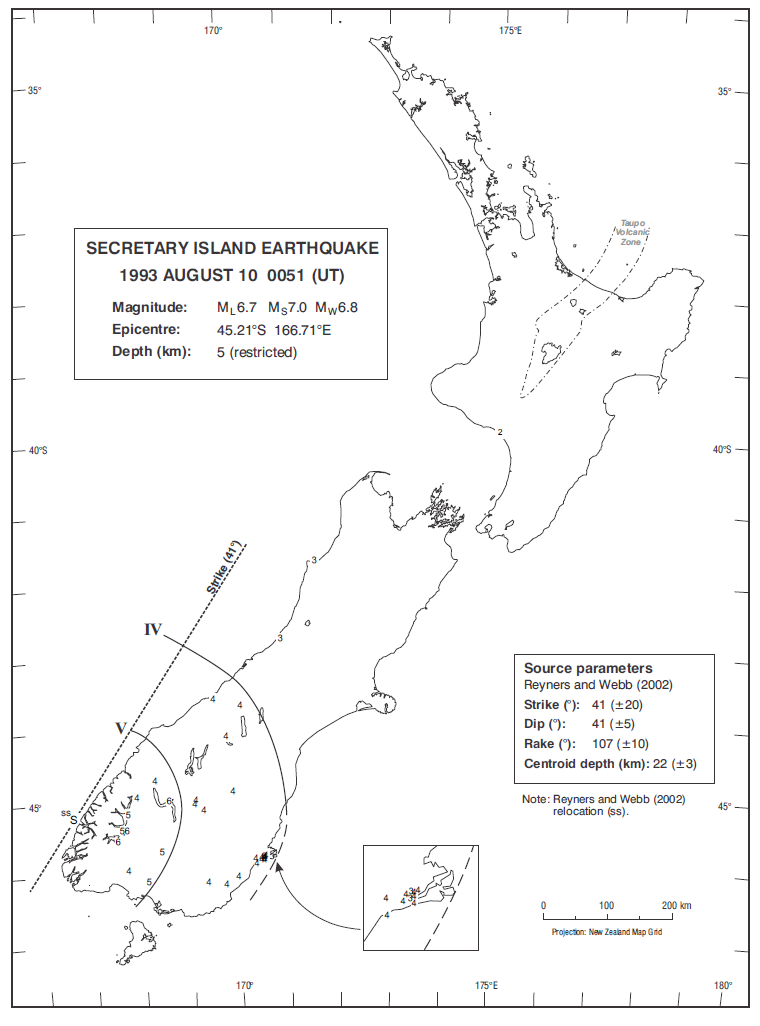 Isoseismal map of the Secretary Island earthquake. Courtesy Atlas of isoseismal maps of New Zealand earthquakes (2nd edition): Downes, G.L.; Dowrick, D.J.