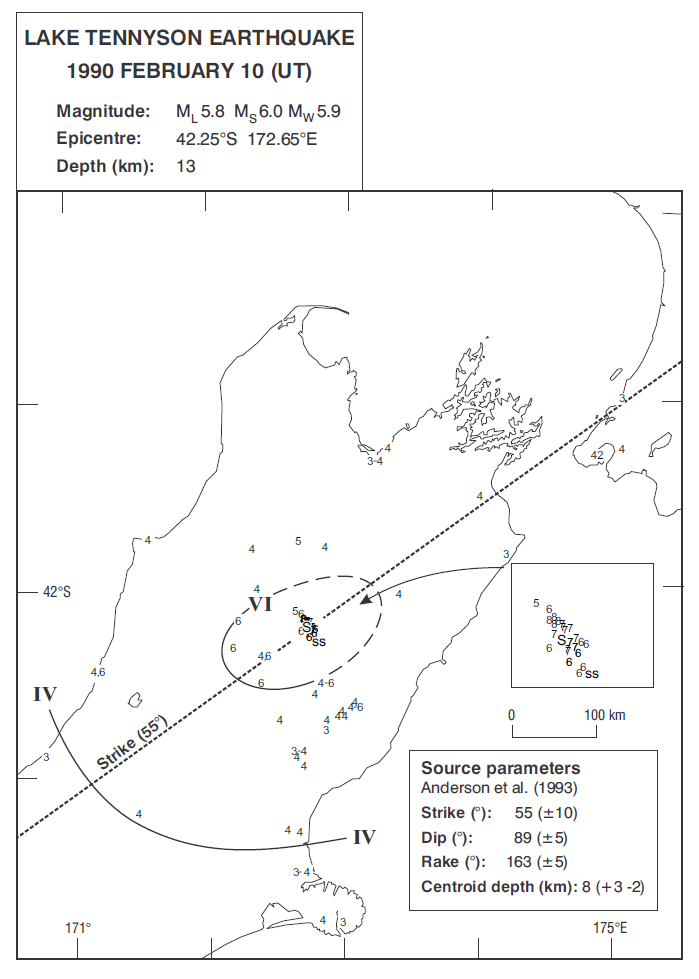 Isoseismal map of the Lake Tennyson earthquake. Courtesy Atlas of isoseismal maps of New Zealand earthquakes (2nd edition): Downes, G.L.; Dowrick, D.J.