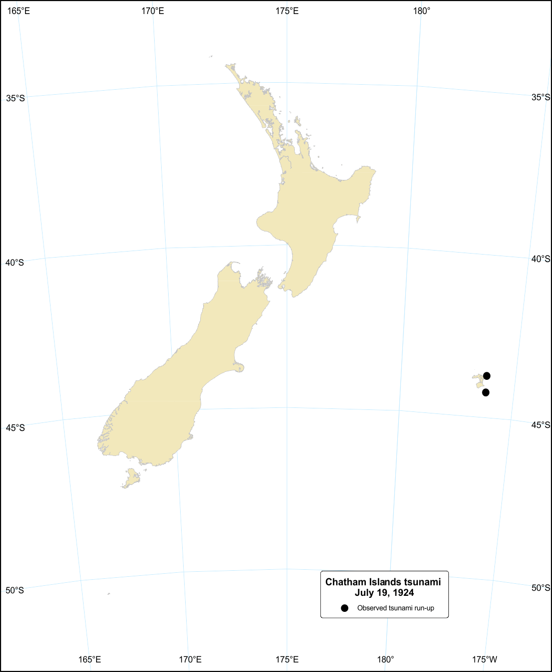 Image for Chatham Islands tsunami, 19 July 1924.