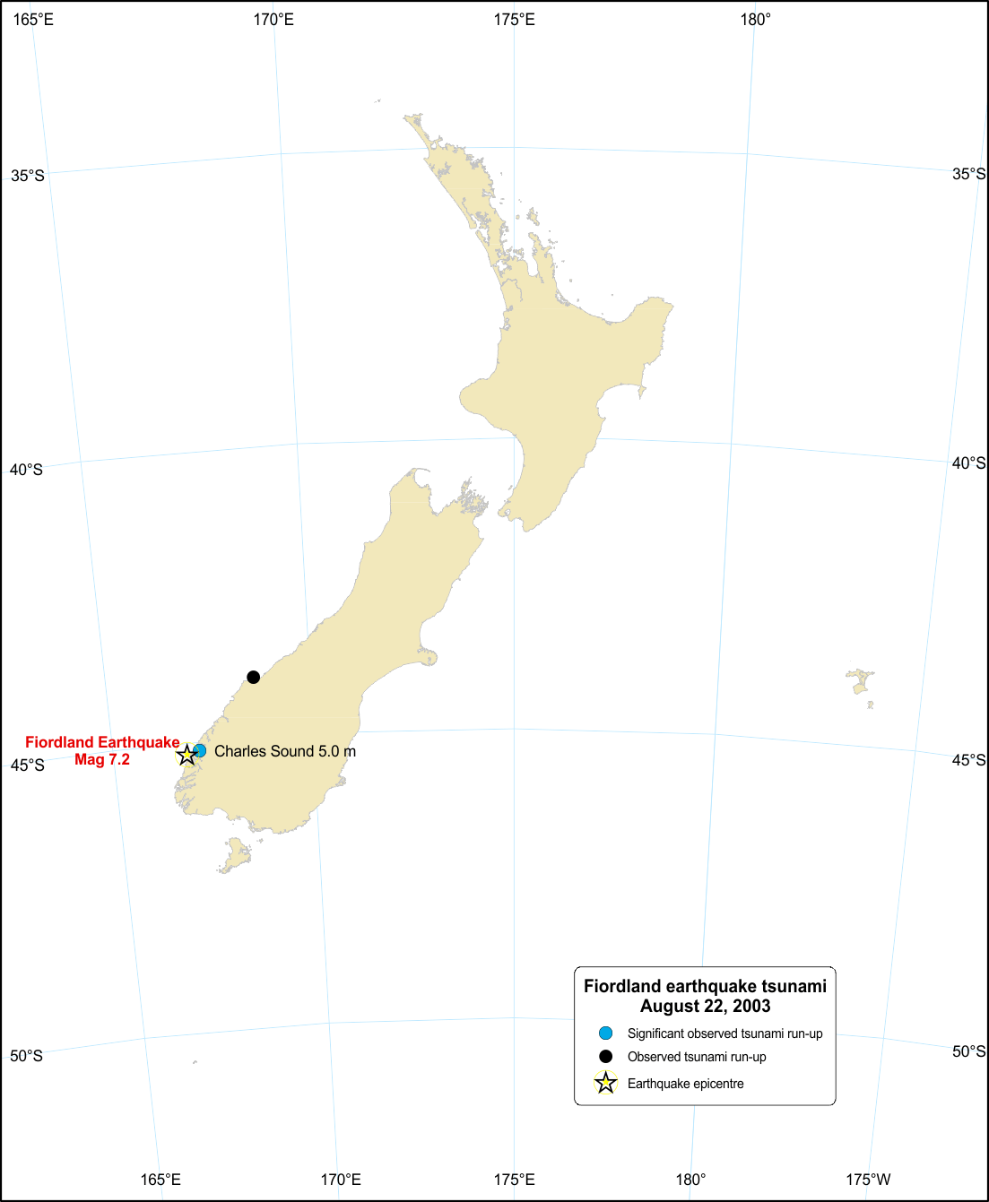 Image for Fiordland tsunami, 22 August 2003.