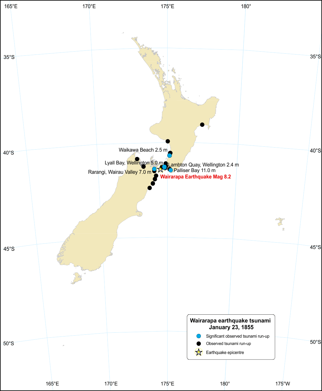 Run-up for Wairarapa earthquake tsunami.