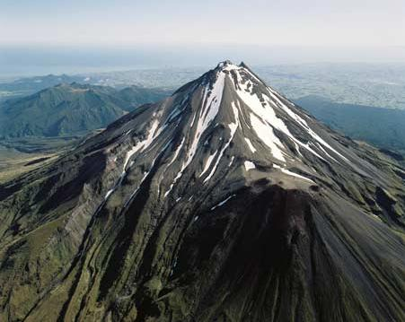 The classic cone shape of Taranaki.